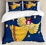 Set copripiumino Angelo, ragazza dolce con aureola e ali che volano sul cielo stellato, set biancheria da letto decorativo in 3 pezzi con 2 federe per cuscino, blu notte senape terra giallo lampone pi