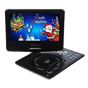"""DBPOWER® 9.5"""" Lecteur DVD Portable ,Adaptateur de Télécommande,Support DVD VCD Game USD SD NS969B Noir"""