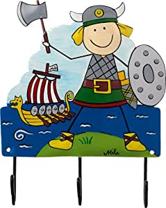 Mila Kinder Kleiderhaken Viking 3 Haken Handbemalt Amazonde