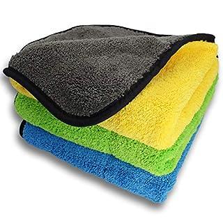 Auto Reinigungstuch, Miakrofaser Tuch, HUYU Poliertuch, 3Pcs Haushaltsreinigungstuch, Autopflegetuch, Putz Handtuch, Zweilagiges Autop Trockentuch mit ultra starker doppelter Saugkraft 38*45CM, 840GSM
