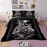 WONGS BEDDING 3D-Totenkopf-Bettwäsche-Set, 3-teilig, Hypoallergen, Mikrofaser, Bettbezug mit Reißverschluss, Set für Erwachsene, Einzelgröße