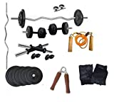 #8: Aurion Home Gym Weight Lifting Pack 10 Kg With 3 Rods + glove-rope-hand grip x 1