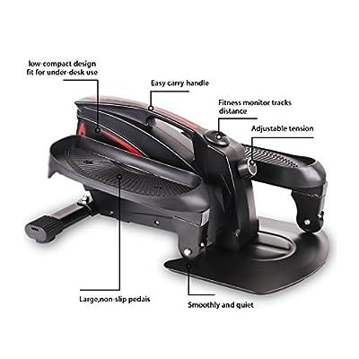 EXEFIT Mini Ellipsentrainer Elliptischer Stepper Heimtrainer Unter Schreibtisch Zyklus Widerstand Einstellbar mit LCD-Monitor