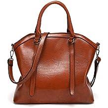 Bolso, Manadlian Bolso de cuero de las mujeres de moda Satchel Bolsas de tela Bolso mensajero de hombro (32cm(L)*14cm(W)*28cm(H), Caqui)