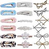 18 pezzi moda Fermagli acrilico perla clip di capelli per le donne ragazze cava geometrica metallo perni di capelli accessori per capelli