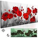 decomonkey Leinwand Bilder nachtleuchtend 135x45 cm Wandbilder Tag & Nacht Design Bilder mit 3D nachleuchtenden Farben Vlies Leinwand Blumen Mohnblumen rot