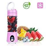 Mix & Go Mini Standmixer 6 Edelstahlmesser Smoothie Maker Obst Blender Bbtops Protein Shaker mit 2*2000 mAh Batterie 380ml Reise Juicer BPA-freie Sport Trinkflasche 22, 000 U/min-Rosa