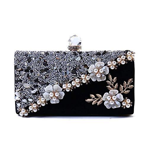 Womens Blume Abendtasche,Perlen Clutch handtaschen,Glitzernden Blumen Kupplung Geldbeutel mit abnehmbare Kette Armband -B (Womens Brieftaschen Und Kupplungen)