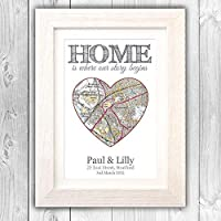 New home gift/House moving present/Personalised OS map house warming home gift/First 1st home gift VA093
