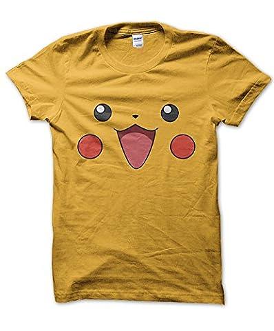 Pikachu face T-shirt (YELLOW, M)