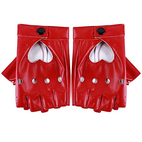 JOOFFF Herzform Halbfingerhandschuhe Damenmode Stilvolle Lederhandschuhe Tanzkostüm Accessoire,rot