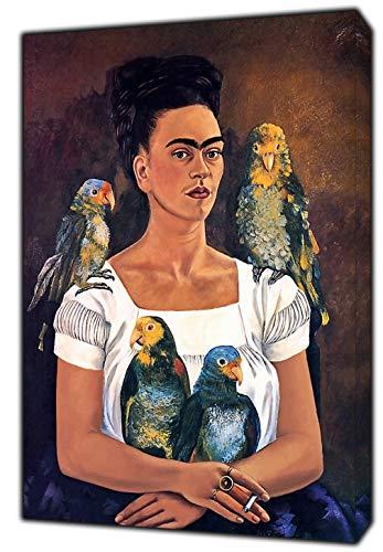 ARTSPRINTS frida Kahlo und Papageien oilpaint gerahmt Leinwand Kunstdruck, 30 x 24 inch-38mm depth -