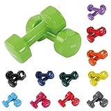 POWRX Vinyl Hanteln inkl. Workout Gymnastikhanteln Ideal für Aerobic Pilates 0,5 kg – 10 kg | Kurzhantel Set in Versch. Farben