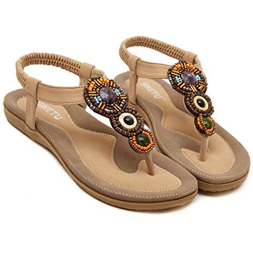 Women's Clip Toe Sandals Summer Bohemia Flowers Rhinestone Flip Flops Elastic T-Strap Post Thong Flat Sandals Shoes - Apricot - Apricot Flower