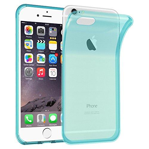 Cadorabo - TPU Ultra Slim Silikon Hülle für >          Apple iPhone 6 / 6S          < (4.7) - Case Cover Schutz-Hülle Bumper in TRANSPARENT-BLAU TRANSPARENT-BLAU
