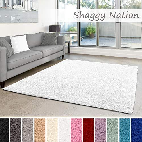 Shaggy-Teppich | Flauschiger Hochflor fürs Wohnzimmer, Schlafzimmer oder Kinderzimmer | einfarbig, schadstoffgeprüft, allergikergeeignet in Farbe: Weiss; Größe: 80 x 150 cm