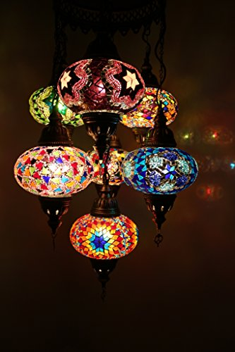 Multicolor Handmade Turkish Moroccan Style Mosaic Hanging Lamp Chandelier with 7 Large Size Globes