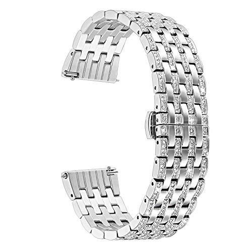 TRUMiRR 22mm Kristall Rhinestone Diamant Uhrenarmband Schnelles Release Edelstahl Handgelenk Armband kompatibel für Samsung Gear S3 Classic Frontier,Moto 360 2 46m,Asus ZenWatch 1 2,Huawei Watch GT - Für Uhrenarmband Notifier Martian