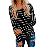 OSYARD Damen Pullover Oberseiten Sweatshirt, Sexy Mode Frauen Lose Langarm Bluse Tops T-Shirt Rundhalsausschnitt Strickpullover Gestreift Pulli Tunika Hemd Oberteile(S, Schwarz)