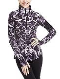 Damen Sport T-Shirt Langarm Laufshirt - 1/2 Reißverschluss Fitness Sweatshirt Laufjacke Running Tops (S, Lightning)
