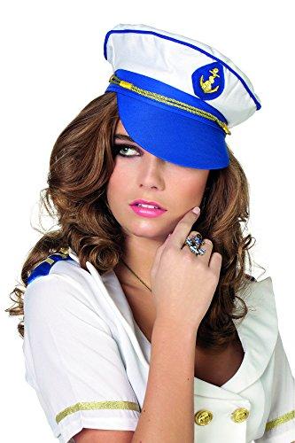 smütze Matrose Hut Kapitän Einheitsgröße Blau-Weiß (Matrosen Kapitän Hut)