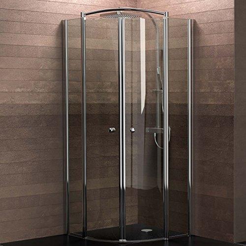 Schulte Duschkabine Runddusche 90x90 cm Viertelkreis Radius 550 6mm Glas mit Glasversiegelung chrom Livenza, 1 Stück, chromoptik, 4056397002772