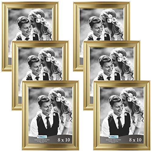 Icona Bay Bilderrahmen/Fotorahmen, Wandhalterung, Aufhänger und Tisch-Staffelei, Querformat oder Hochformat, Gold, 8x10 (6 Pack) - Bilderrahmen, 10x8