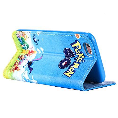 """iPhone 6/6s Pokemon Étui en Cuir PU Portefeuille / Étui avec Sangle Magnétique pour Apple iPhone 6s 6 (4.7"""") / Protecteur D'écran et Chiffon / iCHOOSE / Charmander Go Groupe"""