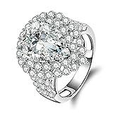 Beydodo Ring Silber 925 Damen Weiß Tropfen Zirkonia Rund Eherring Silber Ring Partner Gr.61 (19.4)
