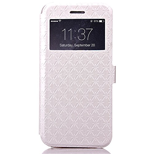 iPhone 6 / iPhone 6S 4.7 inch Handycover, TOTOOSE für iPhone 6 / iPhone 6S 4.7 inch Rhombus Grid Pattern Ultra dünn PU Leder Hülle mit View Windows Flip Stand Funktion Weiches TPU Silikon Abdeckung Sc Weiß
