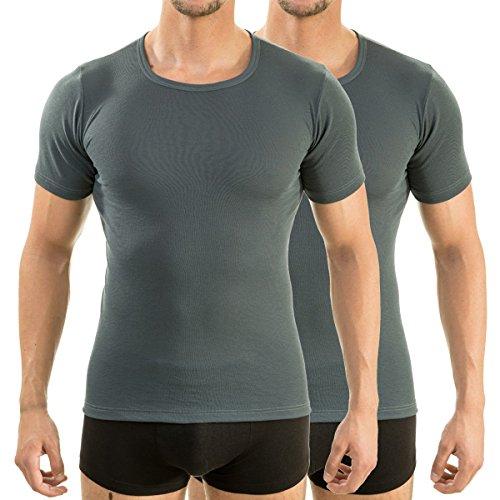 HERMKO 63840 2er Pack Herren Funktionsunterwäsche Shirt mit 1/4 Arm, Rundhals (Weitere Farben), Größe:D 8 = EU XXL, Farbe:graphit