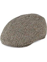 459c42b5cd3 Failsworth Hats Stornoway Harris Tweed Herringbone Flat Cap - Beige-Khaki