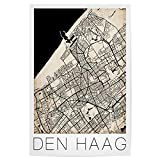 artboxONE Poster 90x60 cm Reise Retro Map of Den HAAG