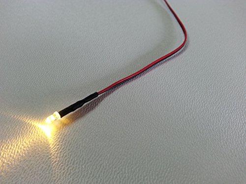 10 Stück (mit Vorwiderstand) LED 3mm warmweiß fertig verkabelt für Hausbeleuchtung