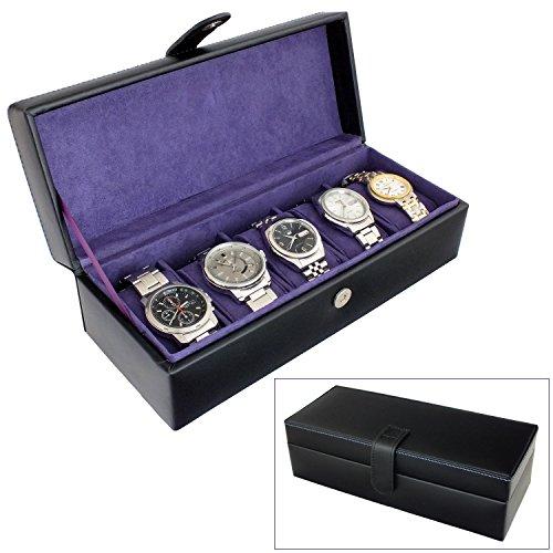 e45f79b61f8 Leathersmith of London® Gents Genuine Black Bonded Leather 5 Watch Storage  Case Organiser Box with
