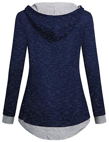 Hibelle Damen Casual Color Block 2 In 1 Langarm Pullover Sweatshirt Kapuzenpullis Blau