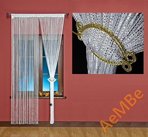 AeMBe - String Rideau Fil Porte De Rideau - 100cm X 200cm - Blanc / Fil d'argent - Meilleure qualité