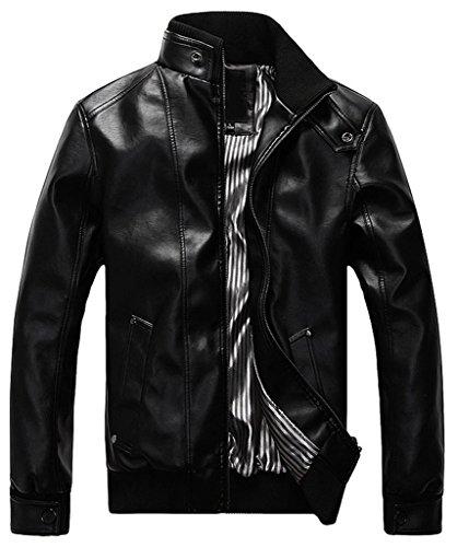 Sawadikaa Hombre Chaqueta De Moto Chaqueta Cazadora Imitación De PU Piel Abrigo Cortavientos Negro XX-Large