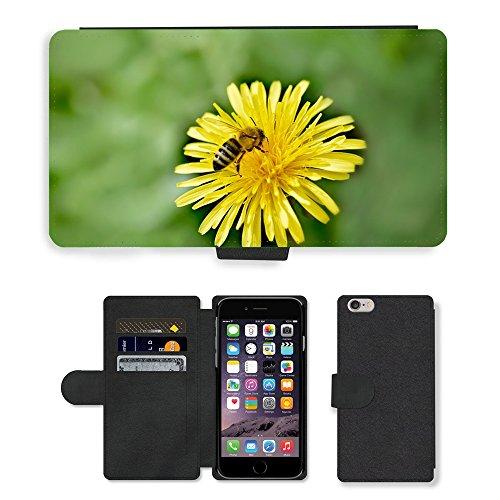 Just Mobile pour Hot Style Téléphone portable étui portefeuille en cuir PU avec fente pour carte//m00138382pissenlit Fleur Jaune Abeille/Apple iPhone 6Plus/insectes 14cm