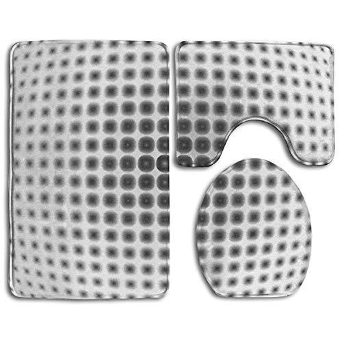Burgund Illusion (HTHYTJC Optical Illusion Toilet Carpet,Fashion Bathroom Rug Mats Set 3 Piece Anti-Skid Pads Bath Mat + Contour + Toilet Lid Cover)