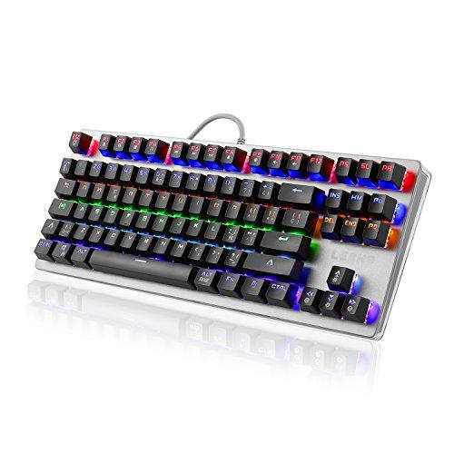 LESHP Teclado Mecánico Gaming con Disposición Española (retroiluminación LED de 6 colores, 88 teclas, tiene ñ)