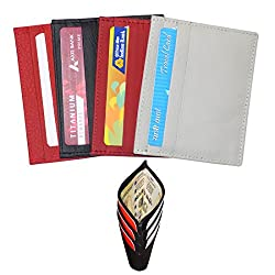 Style98 Unisex Leather ATM Credit Card Holder & Currency Holder Combo Pack Of 4 Red/Black/Grey C33853IA2