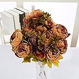 Unbekannt Blumen Hochzeit Hand,Vintage Künstliche Blumen Gefälschte Pfingstrose Blumen Bouquet Glorreichen Hochzeit Home Bridal Dekoration,Brown