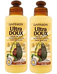Garnier - Ultra DOUX À l'Huile d'Avocat et Beurre de Karité - Crème de soin sans rinçage Cheveux Très Secs ou Frisés 200 ml - Lot de 2