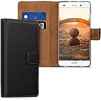 kwmobile Hülle für Huawei P8 Lite (2015) - Wallet Case Handy Schutzhülle Kunstleder - Handycover Klapphülle mit Kartenfach und Ständer Schwarz