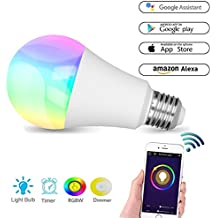 Bombilla inteligente, bombilla B22, de colores, tonalidades, WiFi, LED, funciona con Amazon Alexa y Google Home, RGBW, cambia de color, equivale a 60W, controlada remotamente por dispositivos iOS/Android, no requiere Hub, luces LED adaptables a estado de ánimo, para fiesta o decorativas, blanco cálido [clase energética A +], plata, e27, 7.00 wattsW 265.0 voltsV