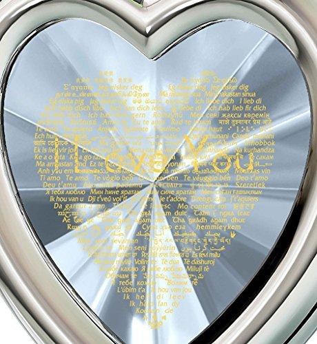Parure Bijoux Coeur Argent fin - Pendentif avec Je t'aime en 120 langues inscrit en Or 24ct sur Zircon Cubique et Boucles d'Oreille Cristal Swarovski, 45cm Transparent