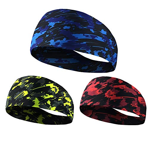 NUREINSS Stirnband 3PCS Non Slip Unisex Stretch Elastische Sport Schweißband Headbands Head Wrap für Yoga, Basketball, Running, Fußball, Tennis - Haarschmuck (color4)
