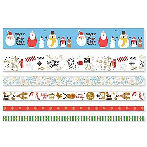 TAPEPRO Washi Tape Set 6 Stück Glitzer Masking Tape Gold Stamping Weihnachten für Scrapbooking Dekoratives Aufkleber Christmas deko Klebeband buntes Klebebänder DIY Handwerk Party Supplies Band