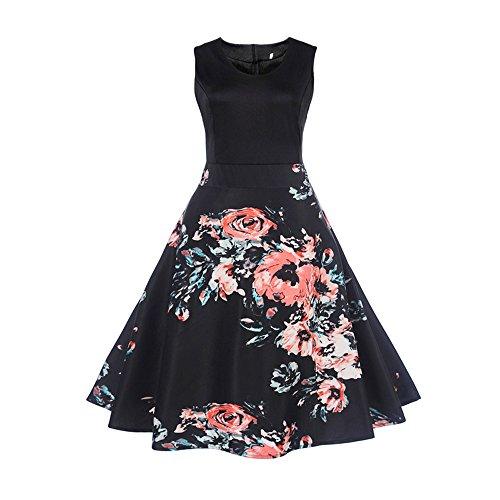 Manadlian Damen 50er Jahre Audrey Hepburn Vintage Kleid Frauen Jahrgang Drucken Bodycon Ärmellos Beiläufig Abend Party Prom ()